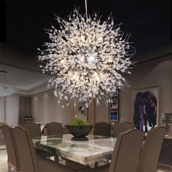 Modern dandelion led ceiling light cry tal chandelier lighting globe ball pendant lamp for dining room bedroom living room lighting fixture