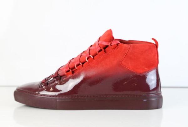 Arena Sneakers High Top Градиентные кроссовки с окунанием Коллекция Красные замшевые модные мужские повседневные кроссовки Kanye West