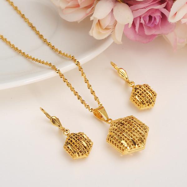 Алжир комплект ювелирных изделий кулон / цепь / серьги / ювелирные изделия золотой