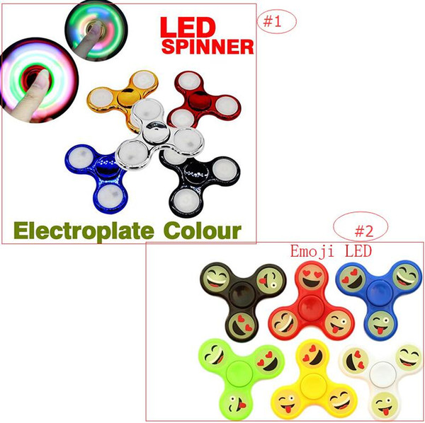 2017 New LED Light Glow Emoji Design Electroplate Colour Hand Spinners Fidget Spinner Triangle Finger Spinning Colorful Decompression Toys