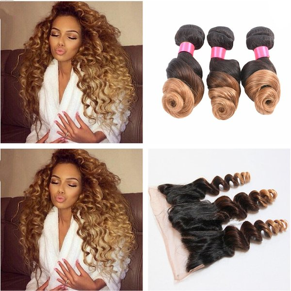 Ombre Loose Wave 1b 4 27 Human Hair Bundles With Lace Frontal Closure Honey Blonde Loose Wave Hair With Lace Frontal Closure