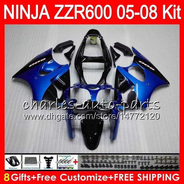 Blue black 8gift 23color body for kawa aki ninja zzr600 05 06 07 08 32no20 600cc zzr 600 zx600 05 zzr 600 2005 2006 2007 2008 fairing kit