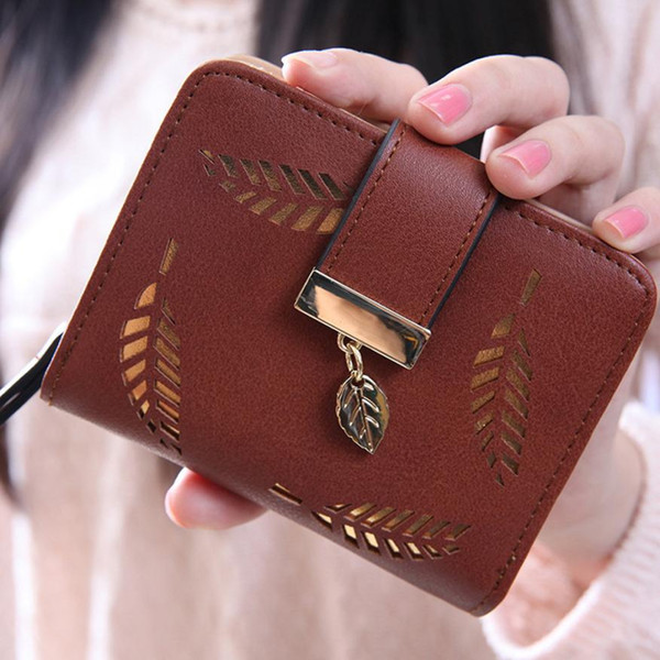 wholesale- square women coin purses holders wallet,leather female money designer leaf wallets women wallet 2016 (400292766) photo