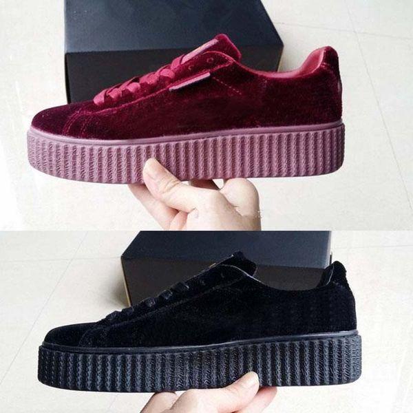 Оригинал 2017 бархат Rihanna x замша Creepers Rihanna Creeper Повседневная обувь серый красный чер фото