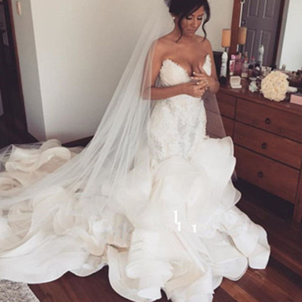 Mermaid Wedding Dresses Sexy Style 2017 Custom Made Ruffles Sweetheart Bridal Gowns Formal Organza Vestidos Tiered Pearls Backless Appliques