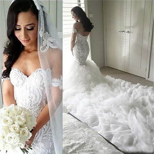 Arabic gorgeou full lace mermaid wedding dre e 2019 off houlder applique bridal gown long ca cading ruffel train ve tido
