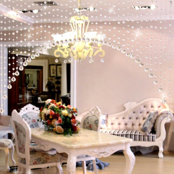 New 1M/String Crystals Beads String Curtain Window DIY Wall Home Decor Wedding backdrop Festive Decor
