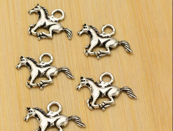 100 шт./лот лошадь ювелирные изделия Тибет серебро свободные бусины кулон для браслет ожерелье