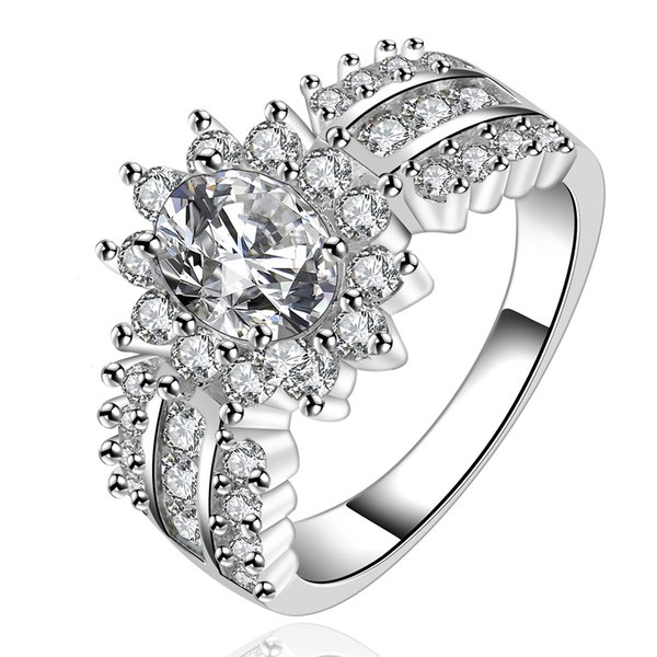 luxurious design silver wedding   engagement ring with Zircon Fashion Jewelry beautiful gift
