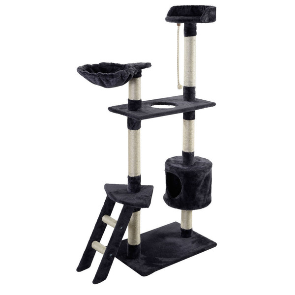 New 60 quot  cat tree tower condo  cratcher furniture kitten pet hou e hammock gray