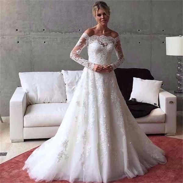 Элегантный с плеча с длинным рукавом Boat Neck свадебное платье поезд стреловидности фото