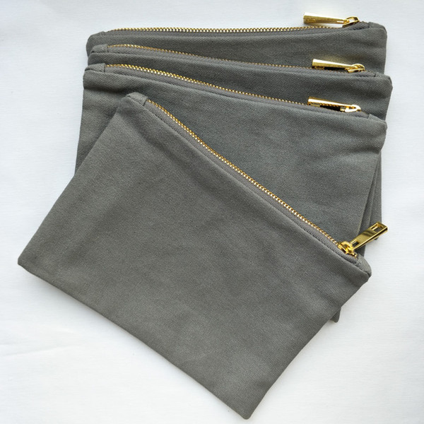 прохладный серый 12oz толстый и прочный хлопок холст макияж сумка с золотой молнии