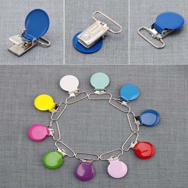 Wholesale-25mm Baby Infant Round Metal Clip Pacifier Alloy Mix Colors 10Pcs