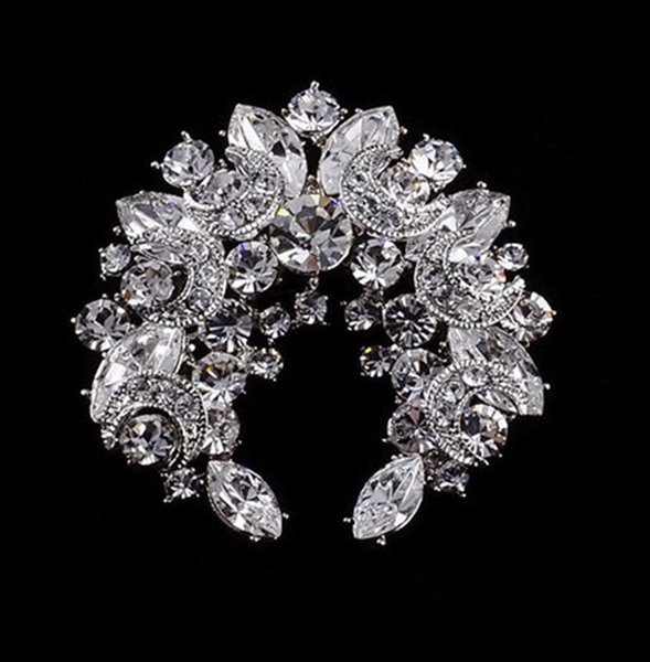 Блестящие-ясно горный хрусталь Кристалл Луны и звезды венок Diamante брошь партии