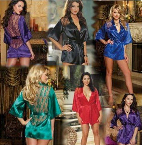 100pcs 5 design Women Lace Bathrobe Kimono with G-string Waist Belt Sexy Lingerie Night Robe Pajamas Dressing Gown M012