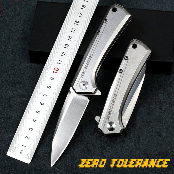 Zero Tolerance ZT0808 Knife D2 Blade 60HRC Bearing quick opening All steel handle Pocket Folding Knife Camping Survival Hunting knives