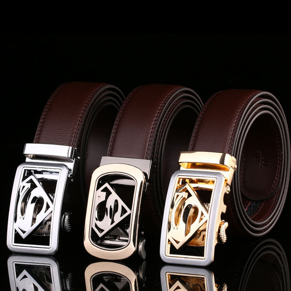 Men superman Belt 100% Genuine Leather Belts For Men High Quality Metal Automatic Buckle Strap Male Jeans Ceinture Homme