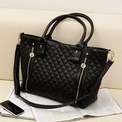 wholesale-2016 new black retro women lady pu quilted shoulder tote bag messenger hobo handbag purse (395480330) photo