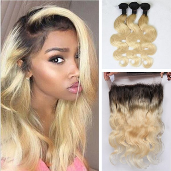 8a brazilian 613 blonde ombre 1b 613 virgin hair 3 bundle with 360 full lace frontal body wave blonde 360 frontal with bundle