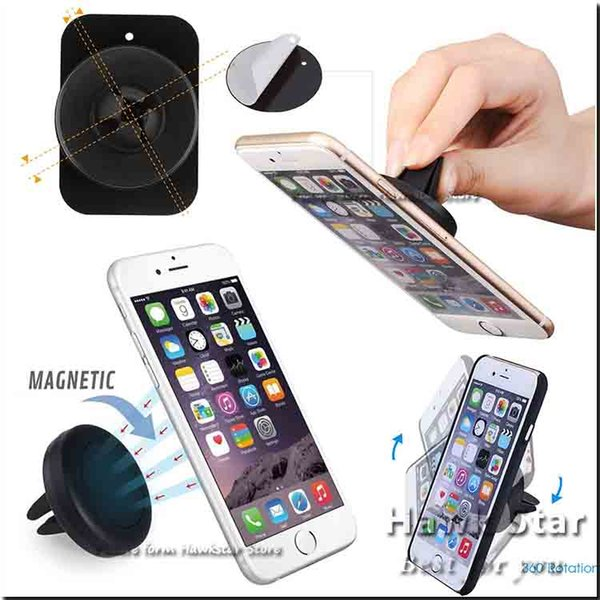 Car mount air vent magnetic univer al cell phone holder for moblie phone iphone 6 7 plu one tep mounting eller