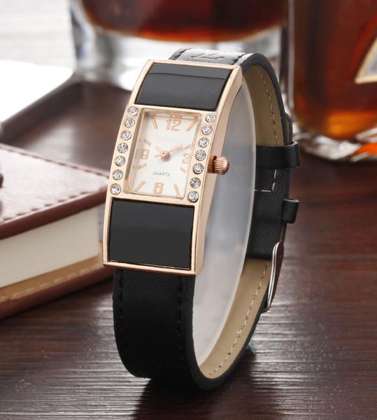 Мода Марка женская девушка Кристалл прямоугольник стиль циферблат Кожаный ремешок кварцевые наручные часы L01