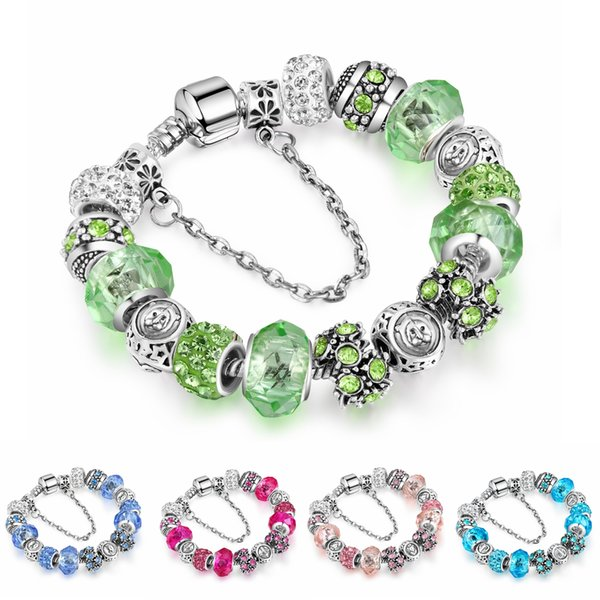 Twelve constellations Crystal Glass Beads Bracelets Bangles Silver Plated Charm for Women Original DIY Jewelry Gift AA163