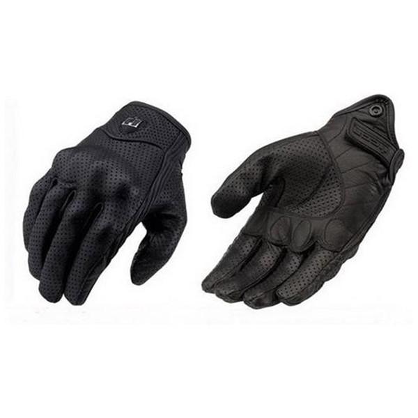 Мото гонки перчатки кожаные велосипедные перчатки перфорированная кожа мотоцикл перчатки черный цвет M L XL размер