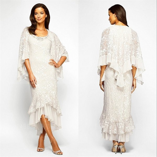 Trumpet mermaid high low lace chiffon evening dre 2019 beaded coop neck tea length mother of the bride dre e with long leeve jacket