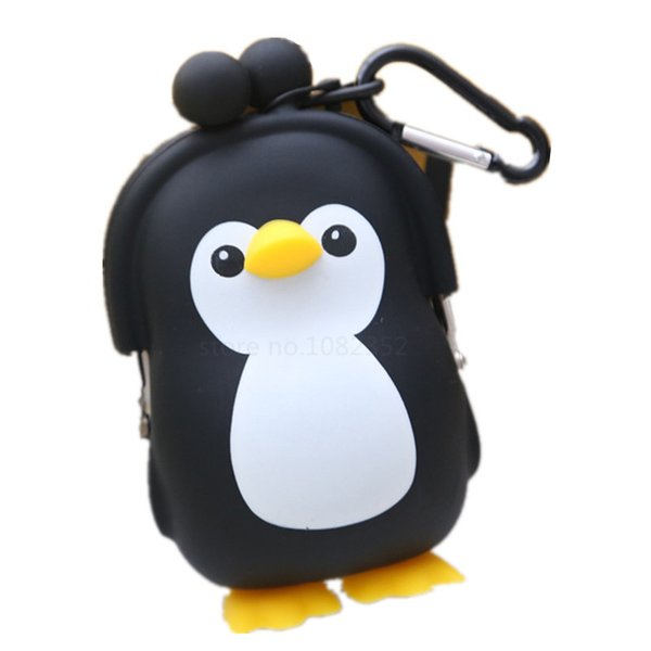 wholesale- new cartoon penguin with hook silicone key bag baby kids girls coin purse change wallets lovely candy color coin purse bag (400836809) photo