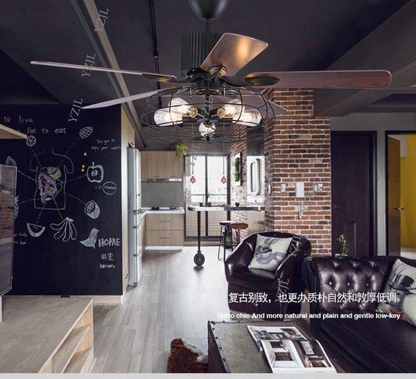 Лофт промышленный вентилятор люстра старинный ресторан Тихий дом светодиодный пульт дистанционного управления вентилятор люстра вентилятор свет с пультом дистанционного управления фото