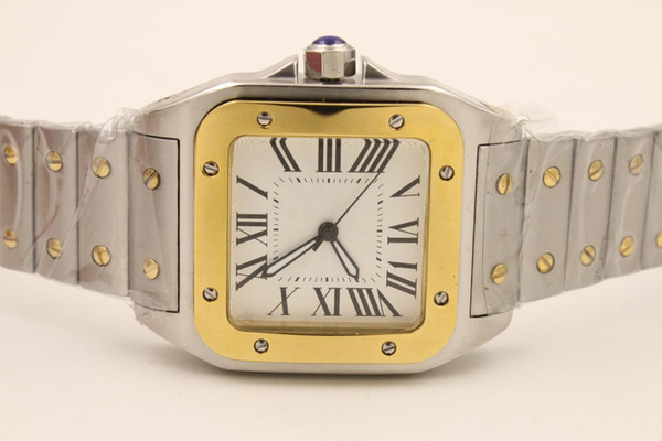 New luxury quartz movement two tone 100 xl tainle teel apphire fa hion apphire quality big dial apphire men watch hipping