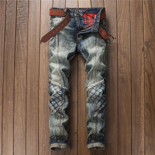 Men Fashion Old Washed Knee Hole Patch Jeans