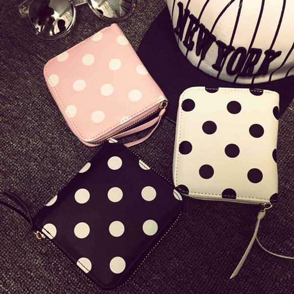 wholesale- polka dot printed short mini square fold wallet women coin purse clutch coin purse (403398134) photo