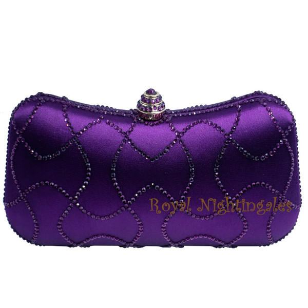 wholesale-purple crystal clutches box clutch bags for womens party crystal rhinestone evening purses and bags (394275865) photo