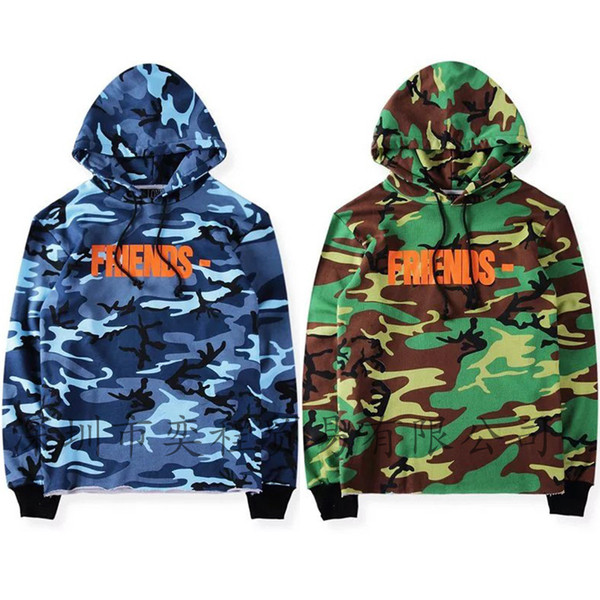 Europe and the United States high street riding soldiers VLONE military camouflage sweater back V big hooded sweater men and women jacket