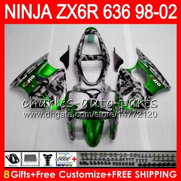 8gift kit for kawa aki ninja zx636 zx 6r zx 636 600cc zx 636 31no95 camouflage zx6r 98 99 00 01 02 zx 6r 1998 1999 2000 2001 2002 fairing