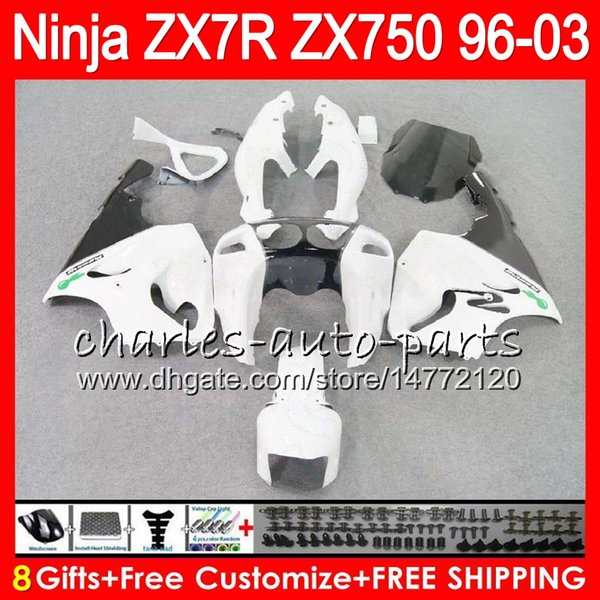 8gift 23color for kawa aki ninja zx7r 96 97 98 99 00 01 02 03 white 18no28 zx750 zx 7r zx 7r 1996 1997 1998 2001 2002 2003 fairing