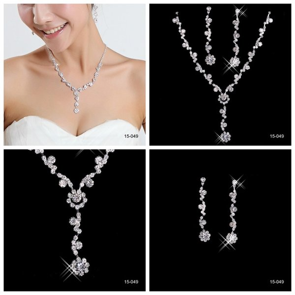 Cheap Elegant Wedding Bridal Jewelry Prom Silver plated Rhinestone Crystal Birdal Jewelry New Bling necklace and earring set 15049