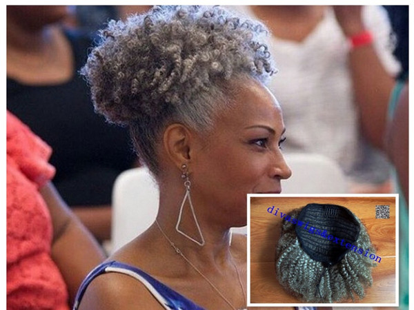 100 real hair gray puff afro ponytail hair exten ion clip in remy afro kinky curly draw tring ponytail grey hair exten ion 120g