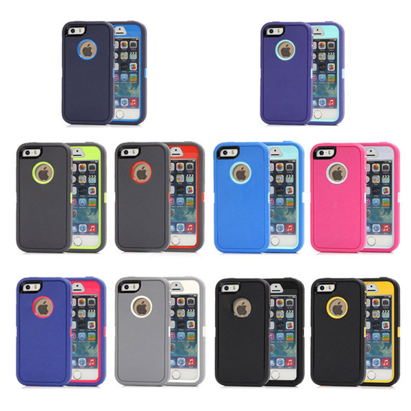 Shockproof phone ca e  for iphone 5  pc tpu 3 layer  hybrid full body protect ca e for  mart phone 5  anti knock phone  hell with cover clip