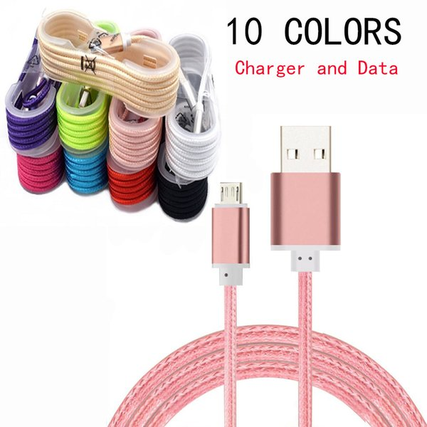 1 5m 5ft braided micro u b cable charger durable type c cable with metal head plug charging popbrand round cable  for any  mart phone
