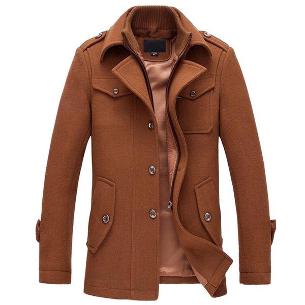 Winter Warm Men Casual Jackets Wool Overcoat Slim Fit Jackets Men Casual Jacket Overcoat Pea Coat Plus Size M-XXXL Coat фото