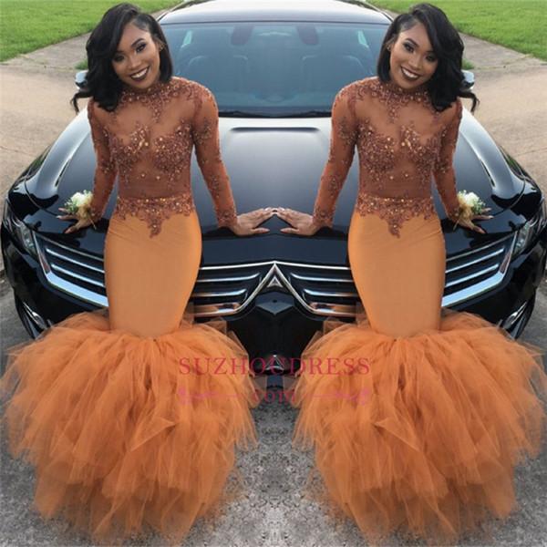 Du t orange long leeve mermaid prom dre e 2018 bead applique equin long ruched ruffle evening gown ba8084