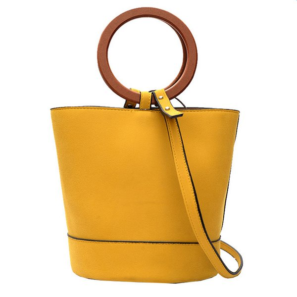 2017 fashion suede leather women bucket bag stylish round ring handle crossbody purse for office lady girl shoulder bag (415025063) photo