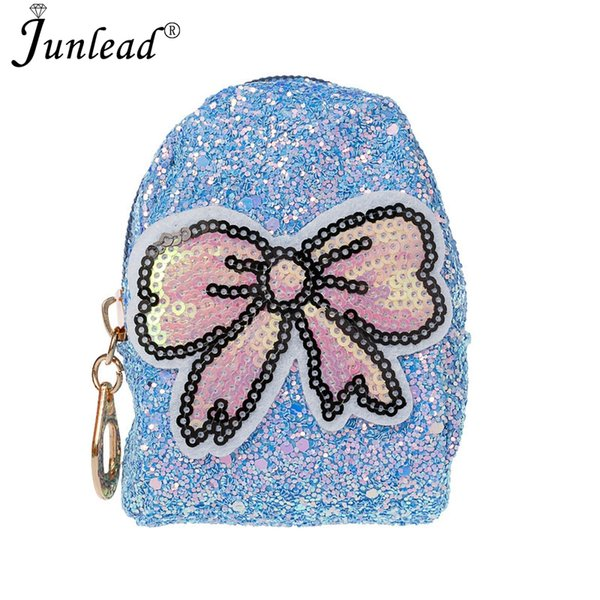 junlead sparkly sequins female bowknot coin purse pocket change wallet for girl key chains cute fashion card coin purse (421536750) photo