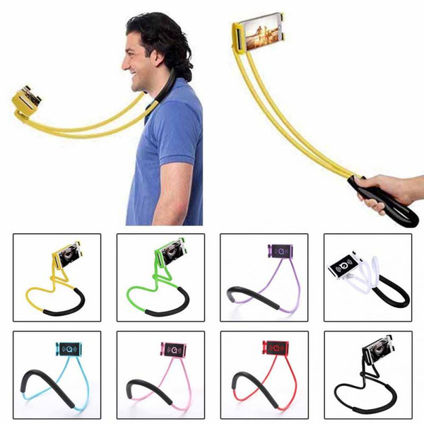 Dhl lazy hanging neck phone  tand  necklace cellphone  upport bracket for  am ung univer al holder for iphone