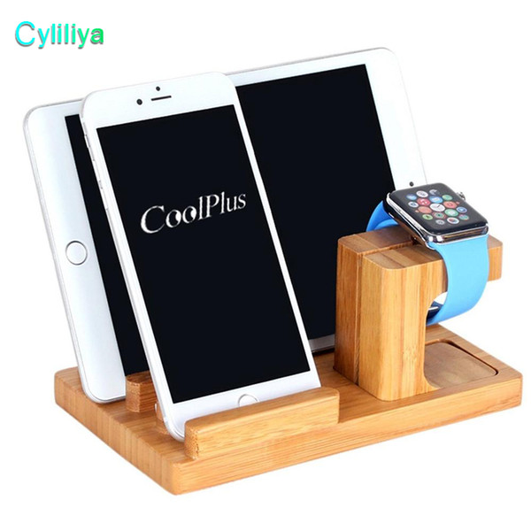 Multi function natural bamboo wood charge  tation charging dock cradle  tand holder for ipad iphone x 8 7 plu  apple watch with retail box