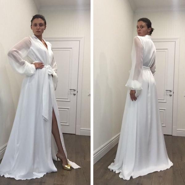 Новая Мода Сексуальная Белая Ночная Халат Халат Пижамы Свадебная Невеста Халат Н фото