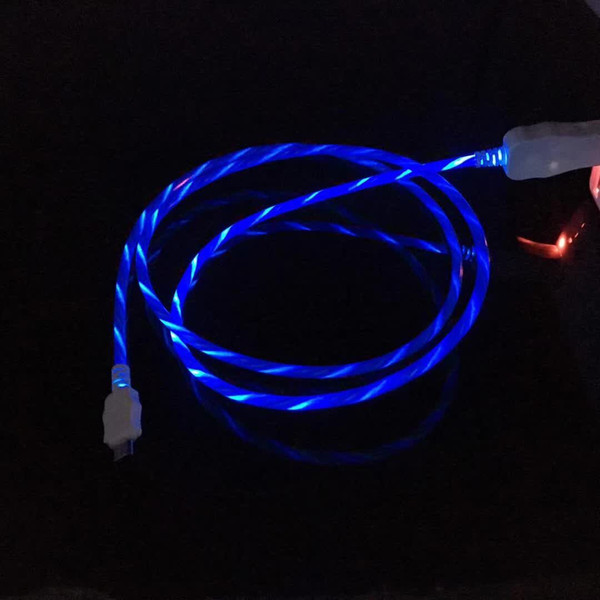 Flowing led vi ible fla hing u b charging charger cable 1m 3ft data ync type c light up cord lead for am ung 7 6 edge htc