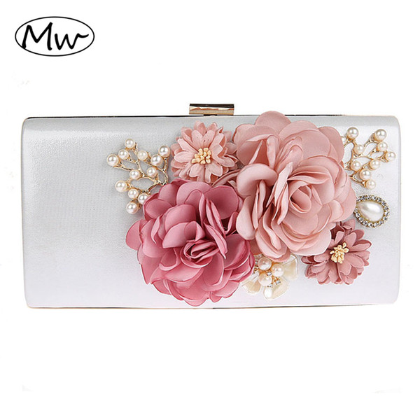 2018 new 9 colors handmade fabric flowers evening bag luxury wedding bride clutch bag pearl party handbag mini purses wallet (416412609) photo